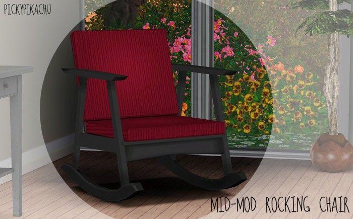 Pleasant Mid Mod Rocking Chair By Pickypikachu Sims 3 Downloads Cc Lamtechconsult Wood Chair Design Ideas Lamtechconsultcom
