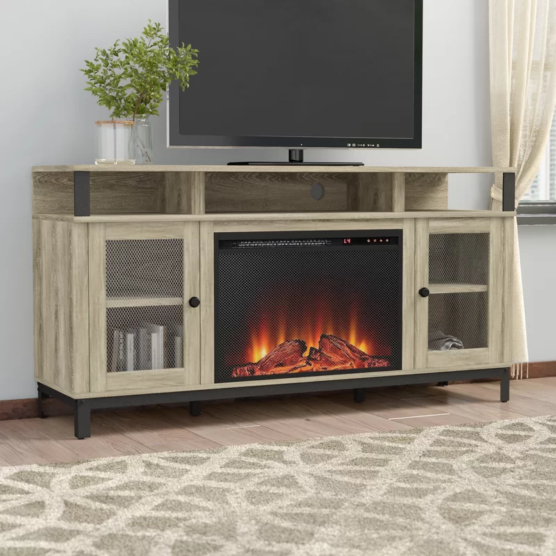Mastrangelo Tv Stand For Tvs Up To 65 With Fireplace Included Fireplace Adjustable Shelving Tv Stand