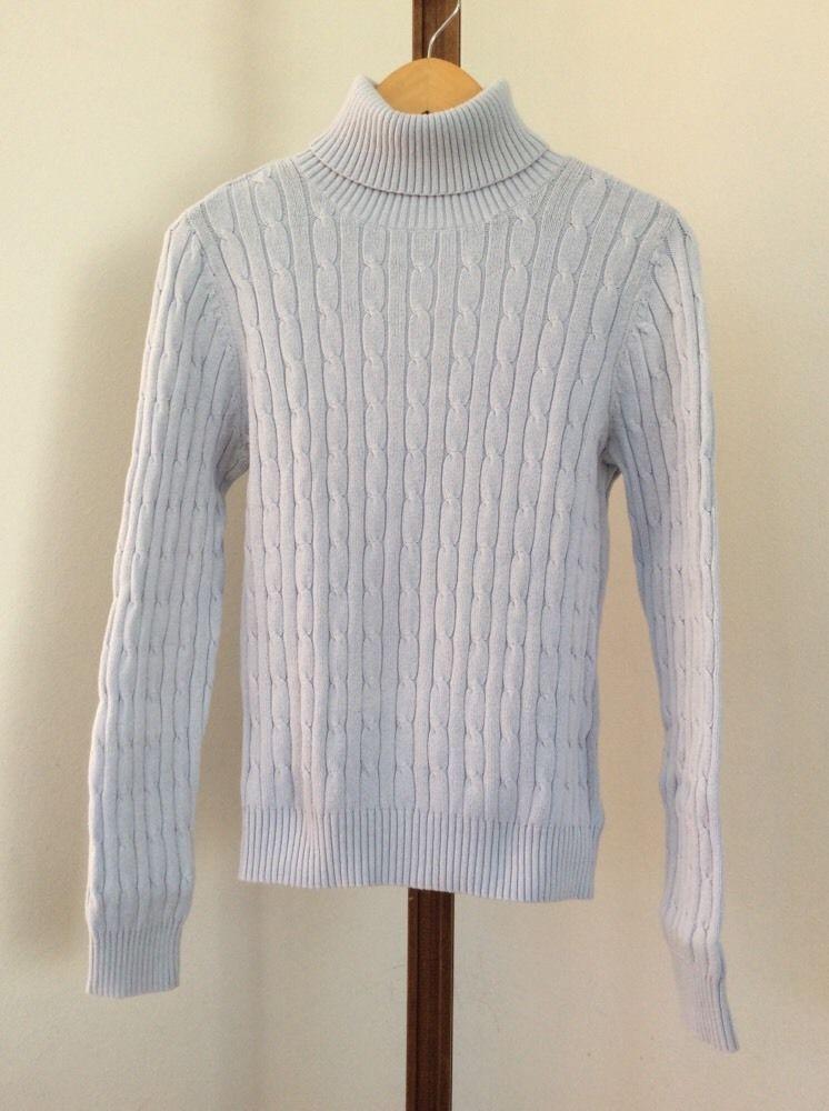 67b5c35de St Johns Bay Sweater Size Medium Turtleneck Classic Cable Knit Light ...