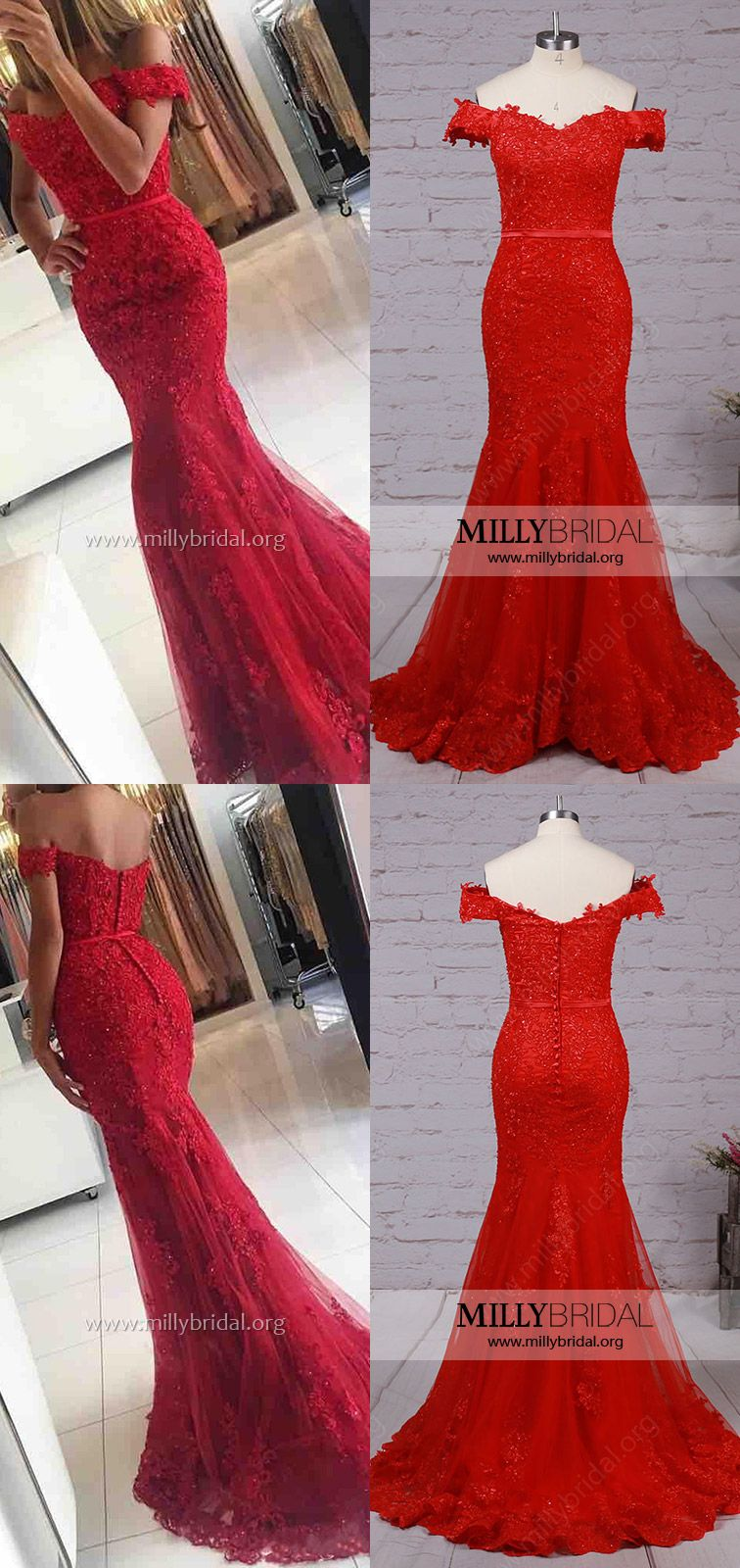 Cheap prom dressesred formal dresses mermaidlong evening party