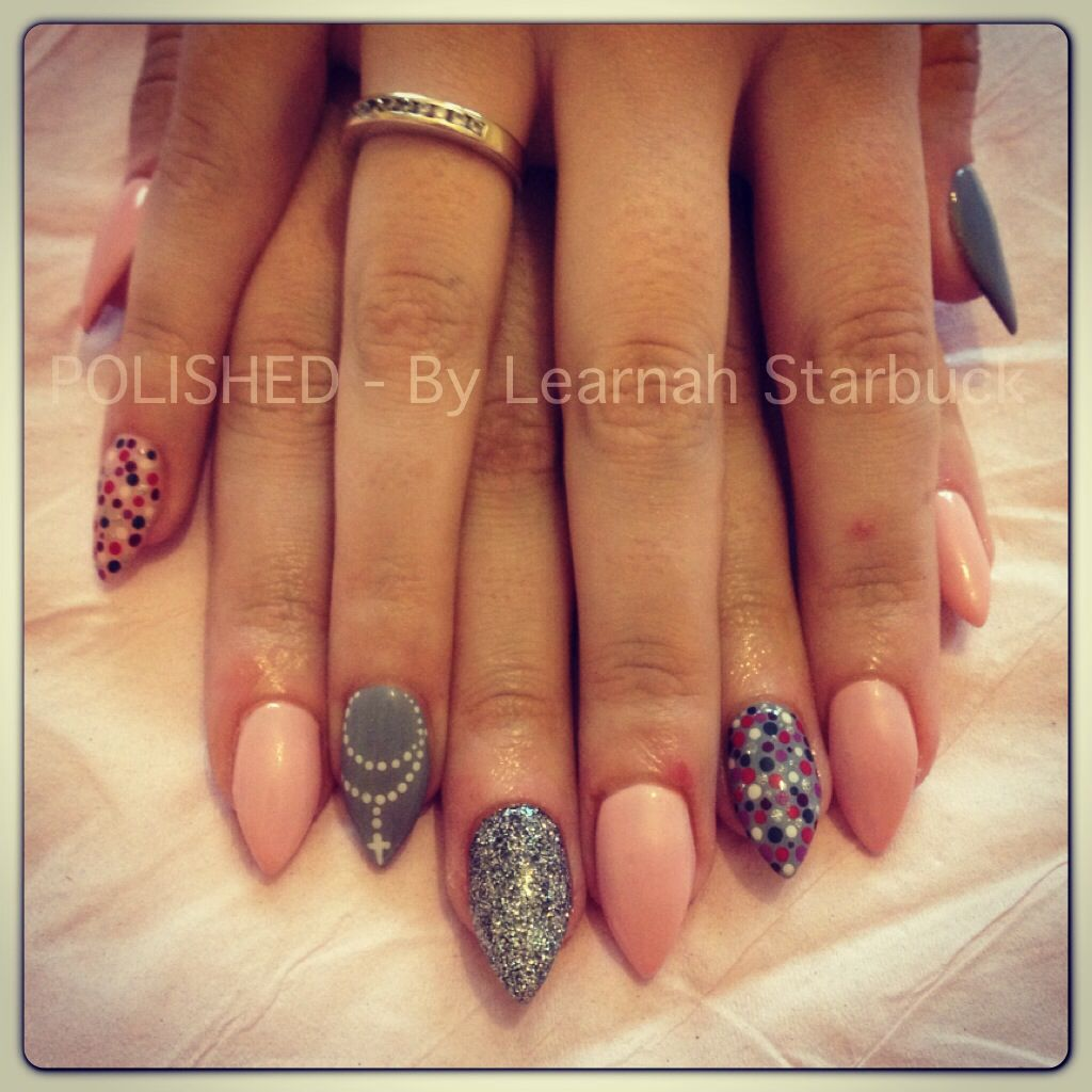 Pink & grey stiletto nails with rosary beads, glitter & polka dots ...