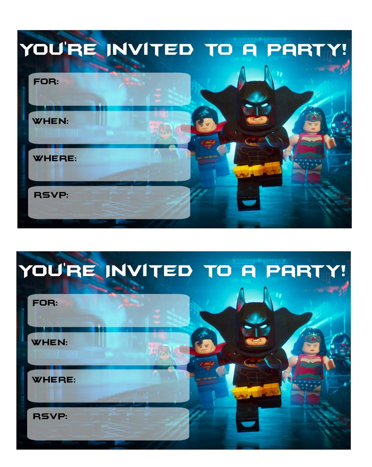 More Lego Batman Party Invitations | Lego batman and Superhero party