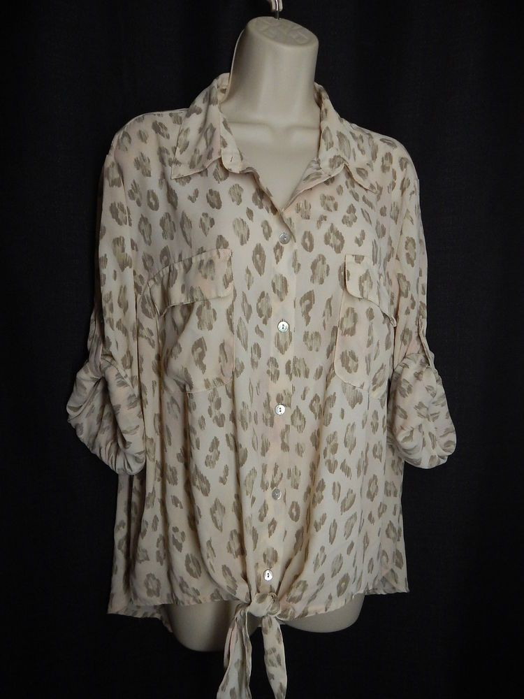 0f94ac242c4ebf CHICO S Size 3 XL Beige Blush Animal Print Semi Sheer Tie Front Blouse Top   Chicos  Blouse  Casual