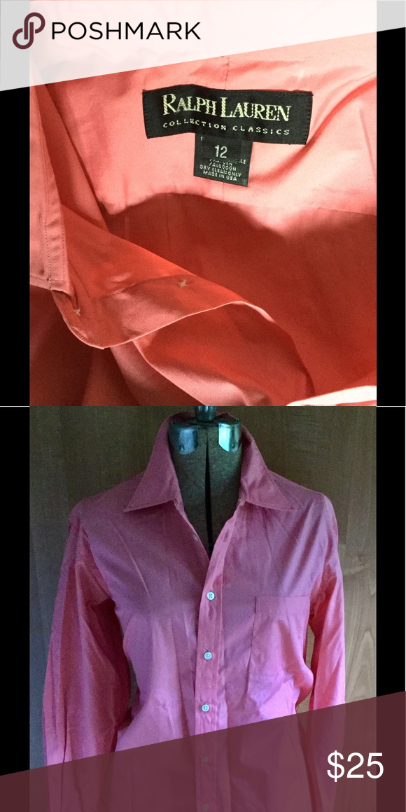 Classic Ralph Lauren button down Camera isn't quite right on either pinks. But first picture is very close. Such a soft 100% cotton classic with pocket shirt. Ralph Lauren Black Label Tops Button Down Shirts