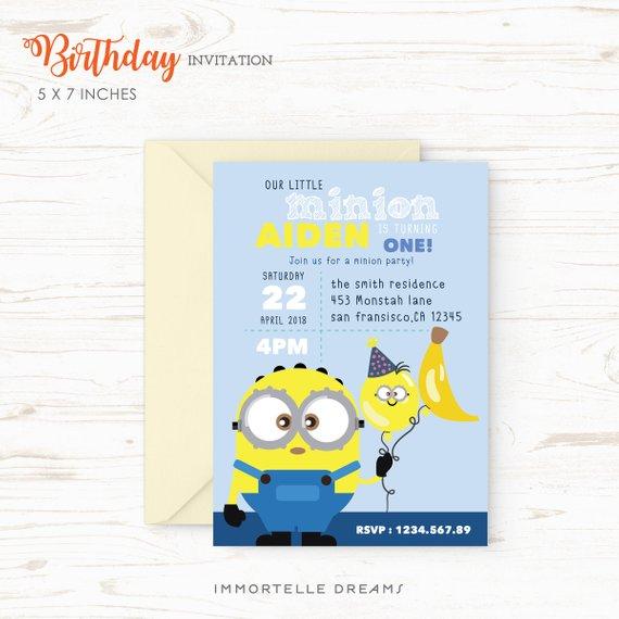 Minion Birthday Invitation Party Card Printable