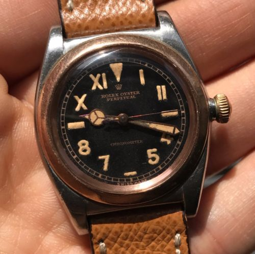1945-Vintage-Rolex-Bubbleback-Steel-Rose-Gold-ref-3133-w-BLACK ...