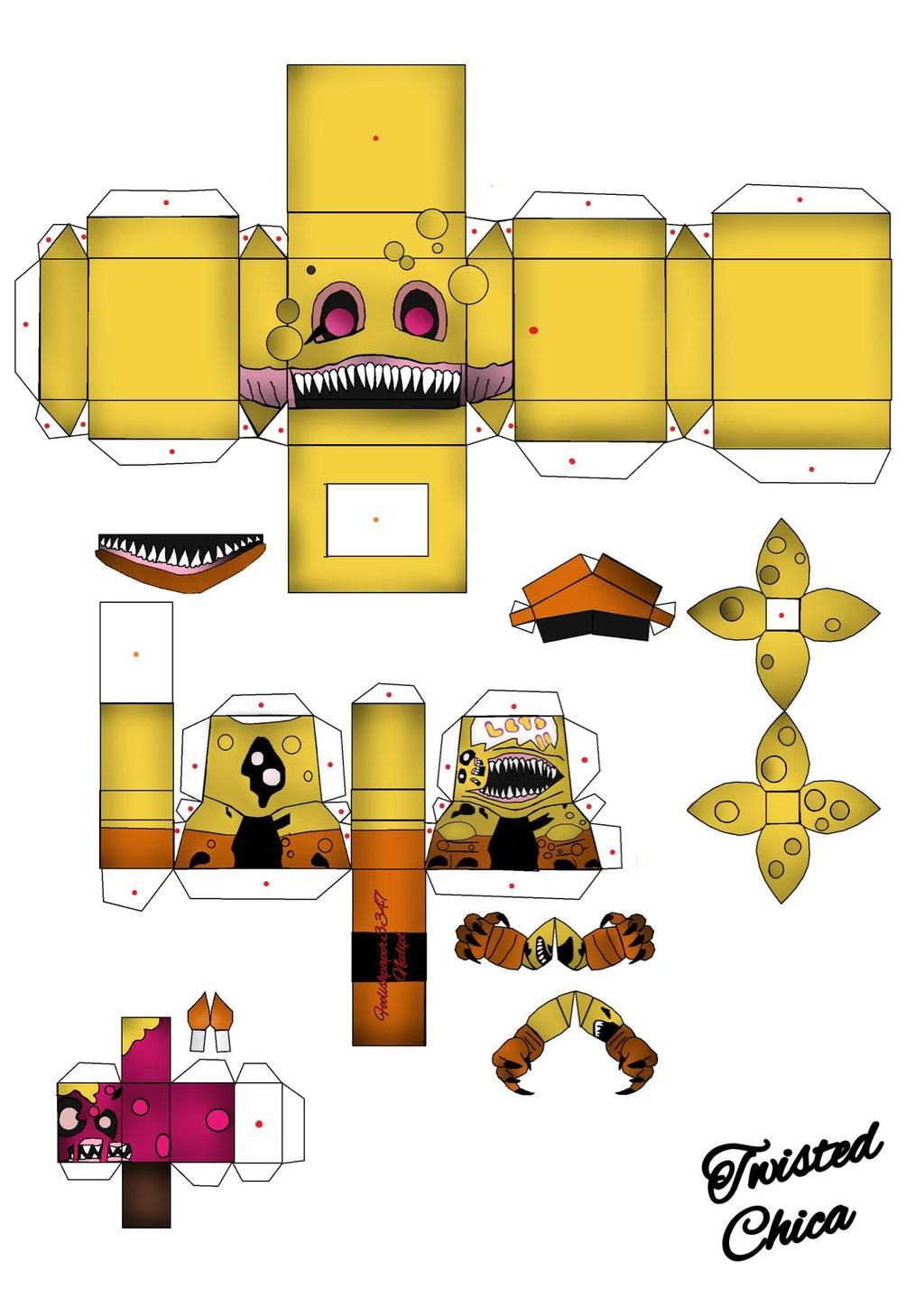 Halloween Funko Pop 2020 Five Nights At Freddy TWISTED CHICA FUNKO POP PAPERCRAFT by FOOLISHPAPER3347 on