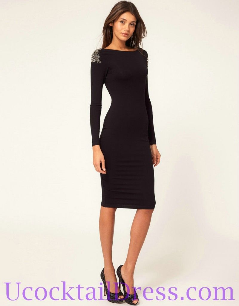 Long Sleeve Knee Length Cocktail Dress
