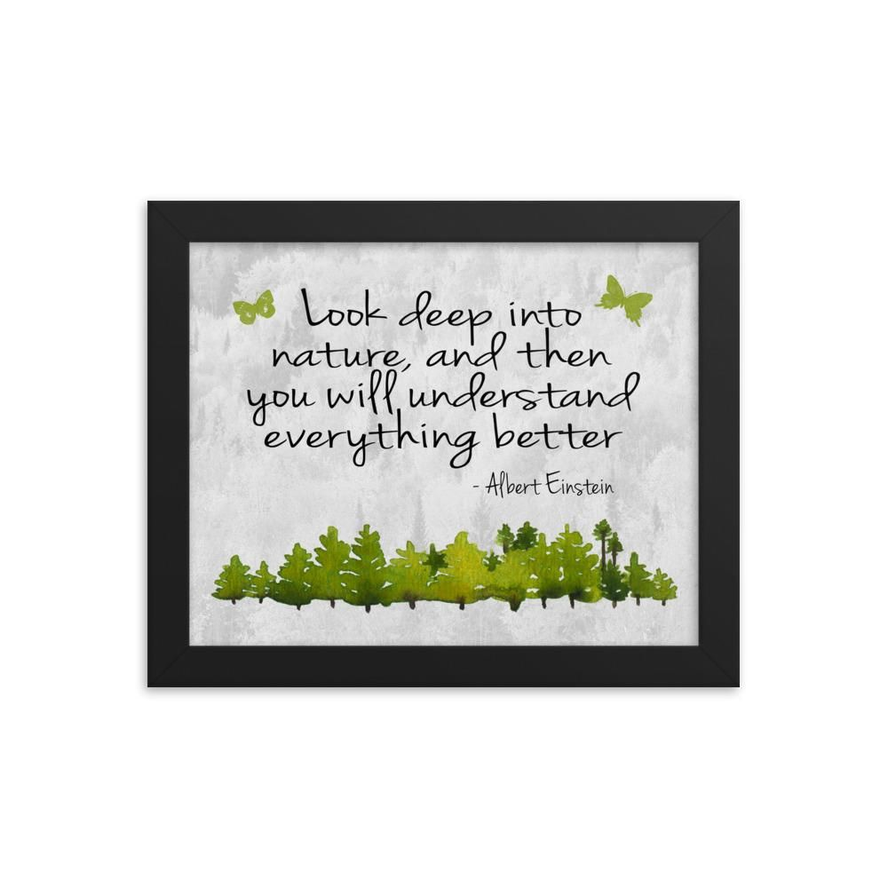 Look Into Nature Framed Print *FREE SHIPPING in US* - Framed Nature Poster - Nature Print - Nature Art - Nature Quote - Albert Einstein Quote - 8×10