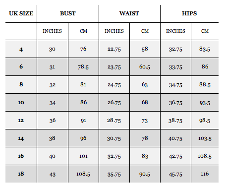 Asos clothing size chart bn dresses tops shoes bags for