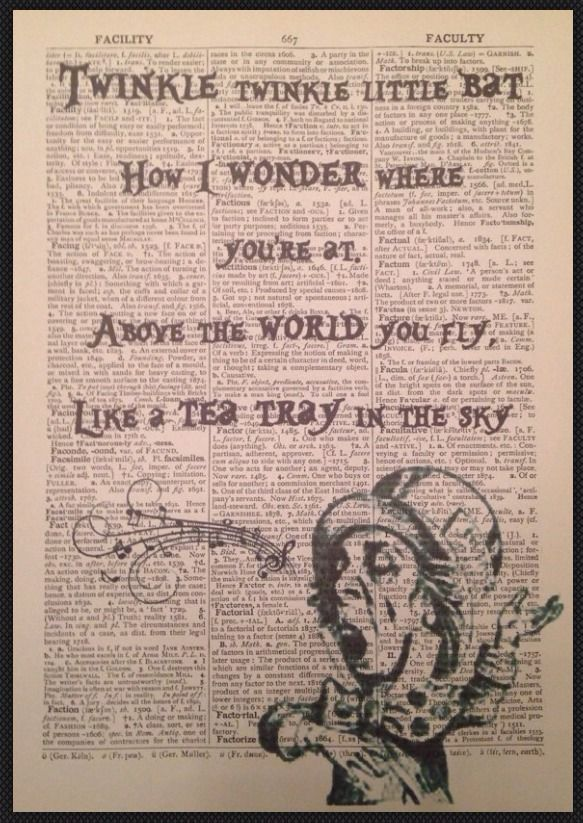 Mad Hatter Alice in Wonderland Twinkle Quote Print Vintage Dictionary Wall Art    eBay