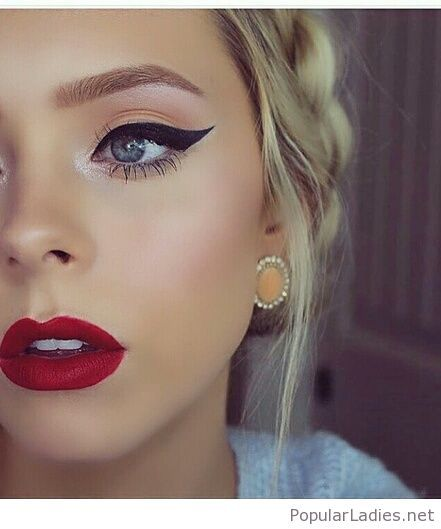Orange Eye Makeup Red Lips And Awesome Earrings Classic Makeup