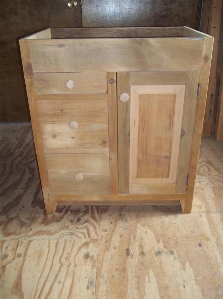 Antique Amish Built Unfinished Reclaimed Barn Wood Bathroom Vanity Cabinets Handmade