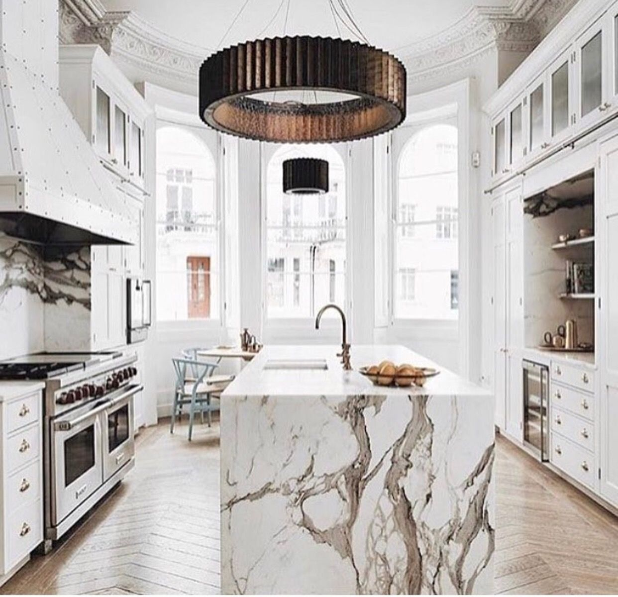 Unique Kitchen Design And Layout Marble Island White Color Scheme