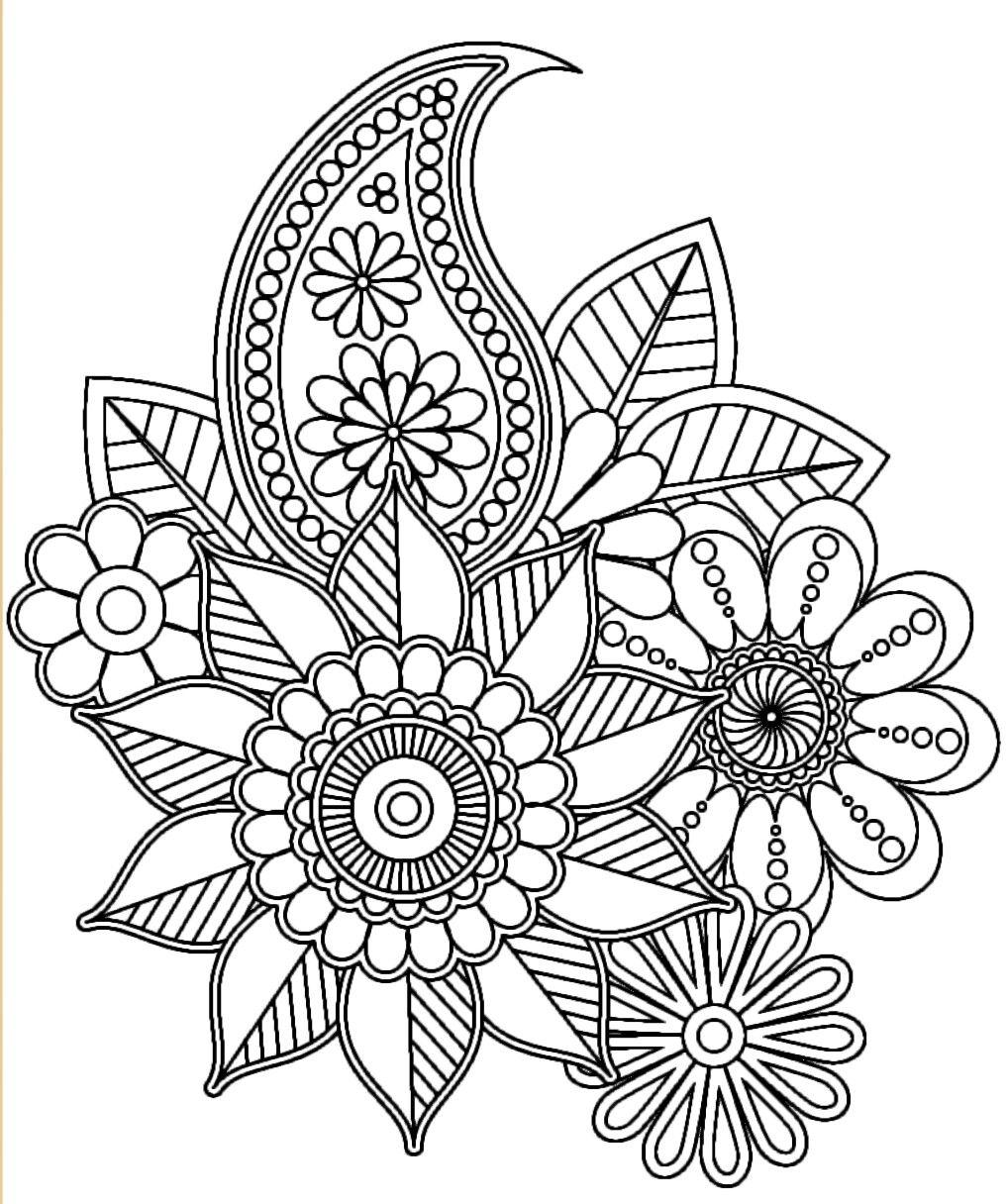 Floral design to colour  Mandala coloring pages, Mandala coloring