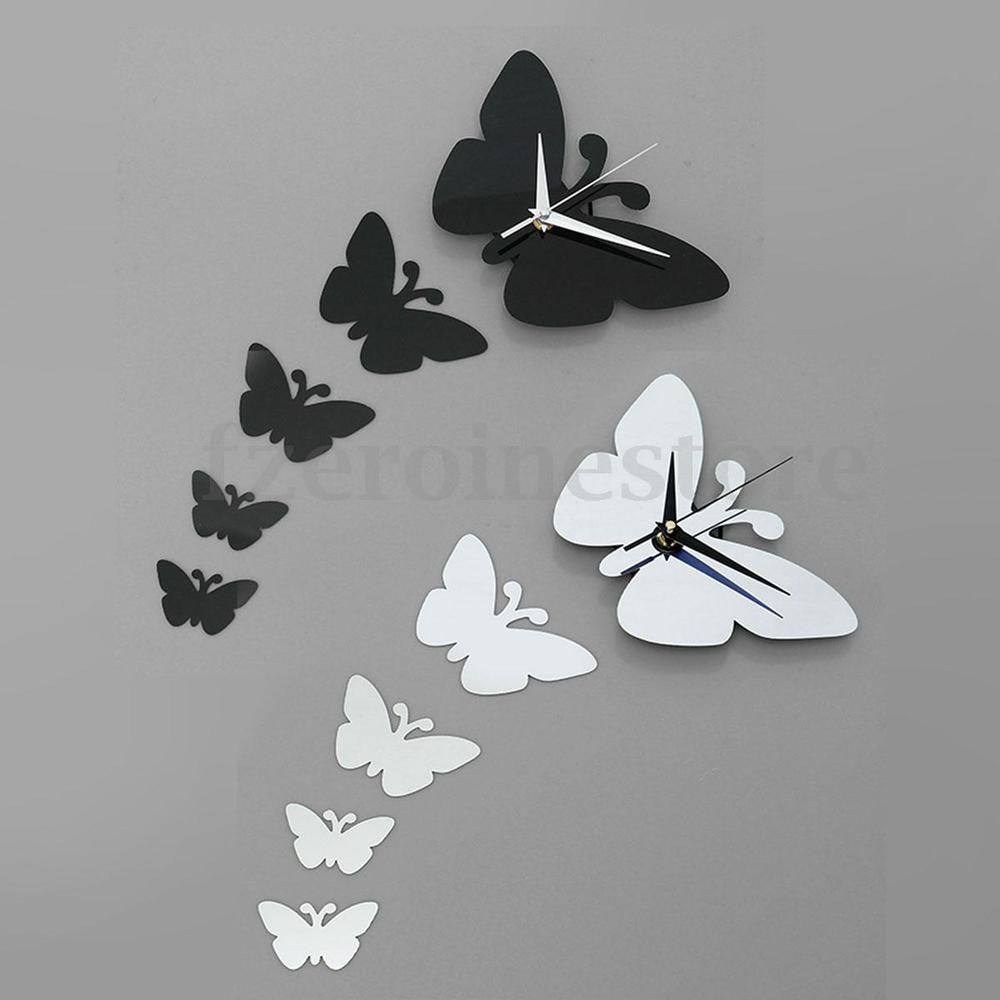 Modern 3D DIY Wall Clock Butterfly Mirror Surface Sticker Home
