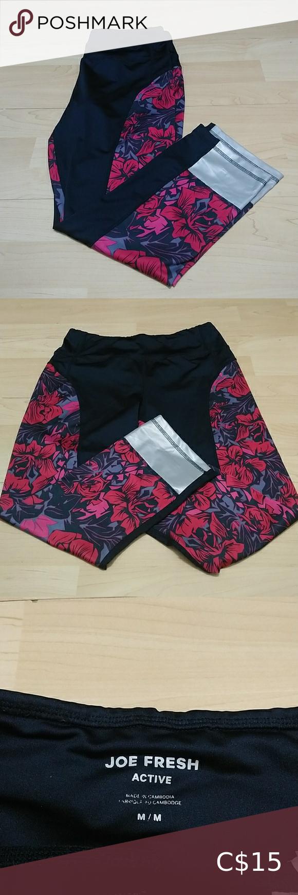 Joe fresh active crop floral leggings