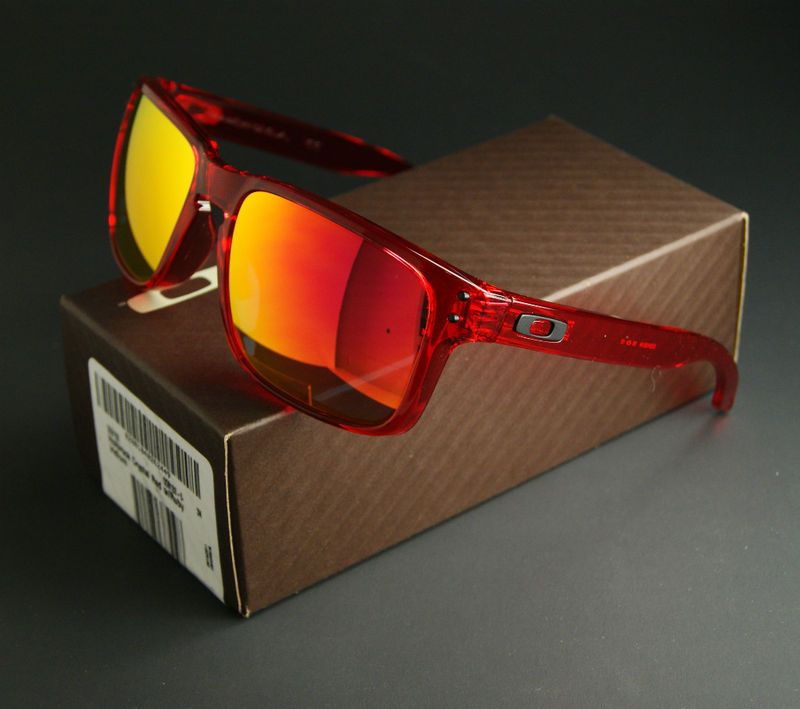 39adc533d23 NEW OAKLEY HOLBROOK SUNGLASSES CRYSTAL RED FRAME RUBY IRIDIUM LENSES  OO9102-04