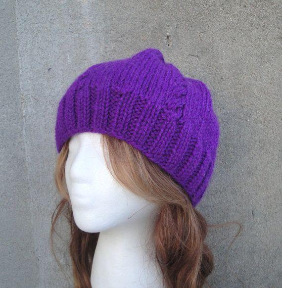 Bright Purple Beanie Hat Knit Women & Teen Girls by Girlpower