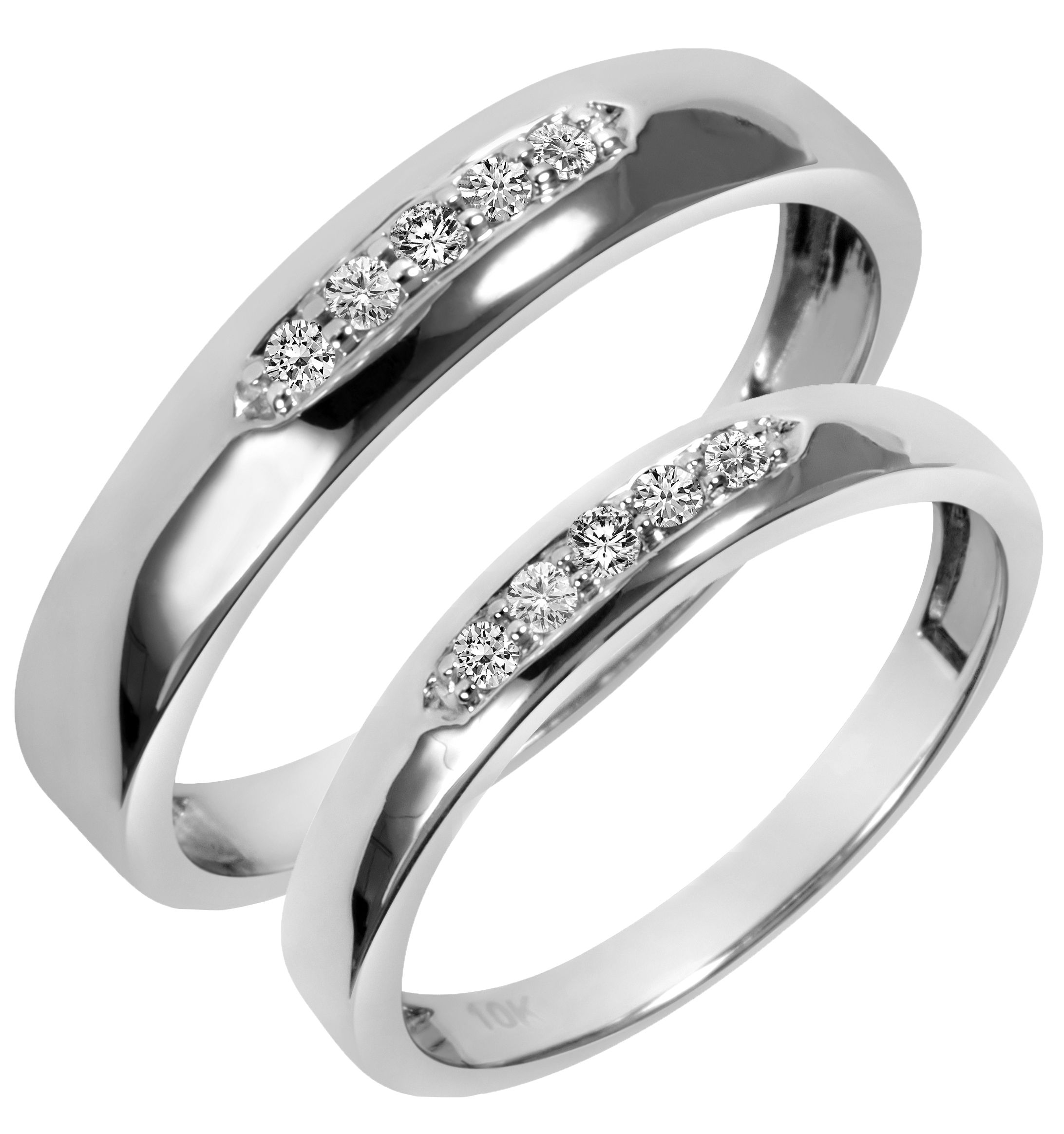 1 5 Carat T W Diamond His And Hers Wedding Band Set 10K White