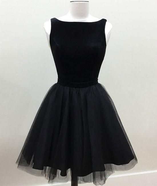 Charming Prom Dress, Sleeveless Prom Dress,Tulle Prom Gown, Black Party Dress F1742
