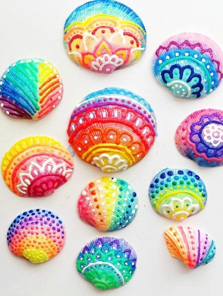 How To Make Painted Sea Shells With Puffy Paint Color Made Happy