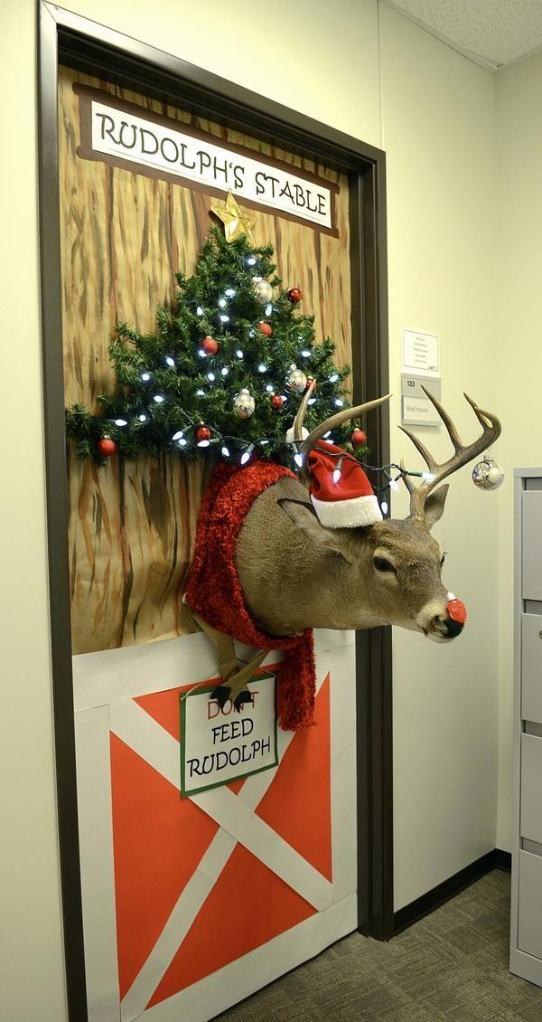 christmas door decorations rudolf reindeer christmas tree ...