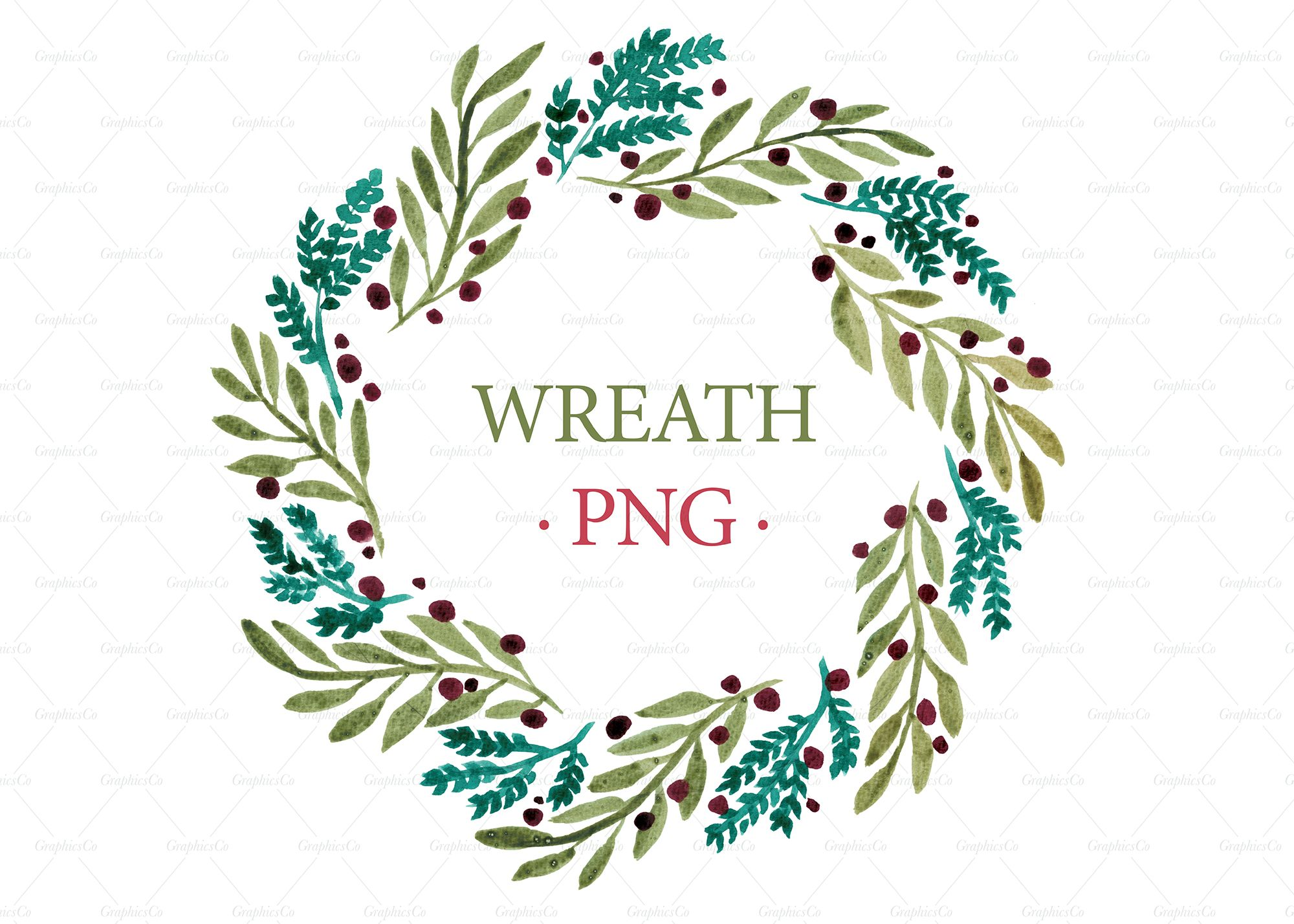 Watercolor CLIPART png Clipart Christmas wreath