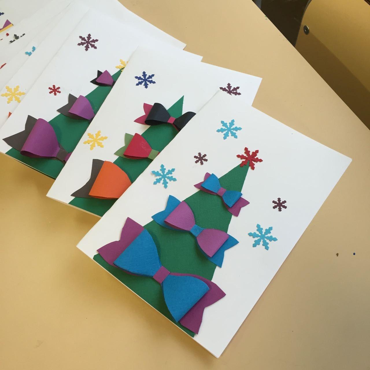 Carte Sapin Et Noeuds Papillons Cartes De Noel A Fabriquer