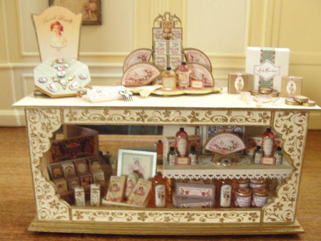 Dollhouse Miniature Vintage Perfume-Soap and Jewelry Display - England