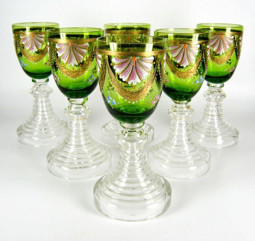 6er Satz Jugendstil Gläser / Weingläser Emailmalerei Art Nouveau Glasses