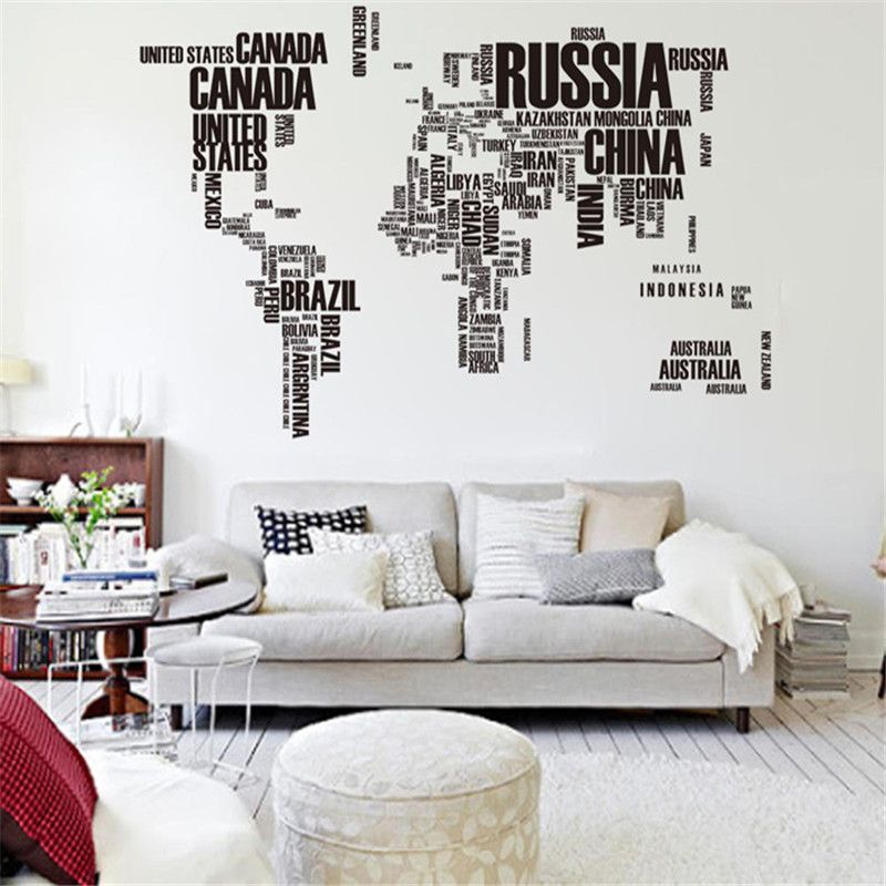 Large world map wall stickers original zooyoo95ab creative letters large world map wall stickers original zooyoo95ab creative letters map wall art bedroom home decorations wall decals gumiabroncs Images