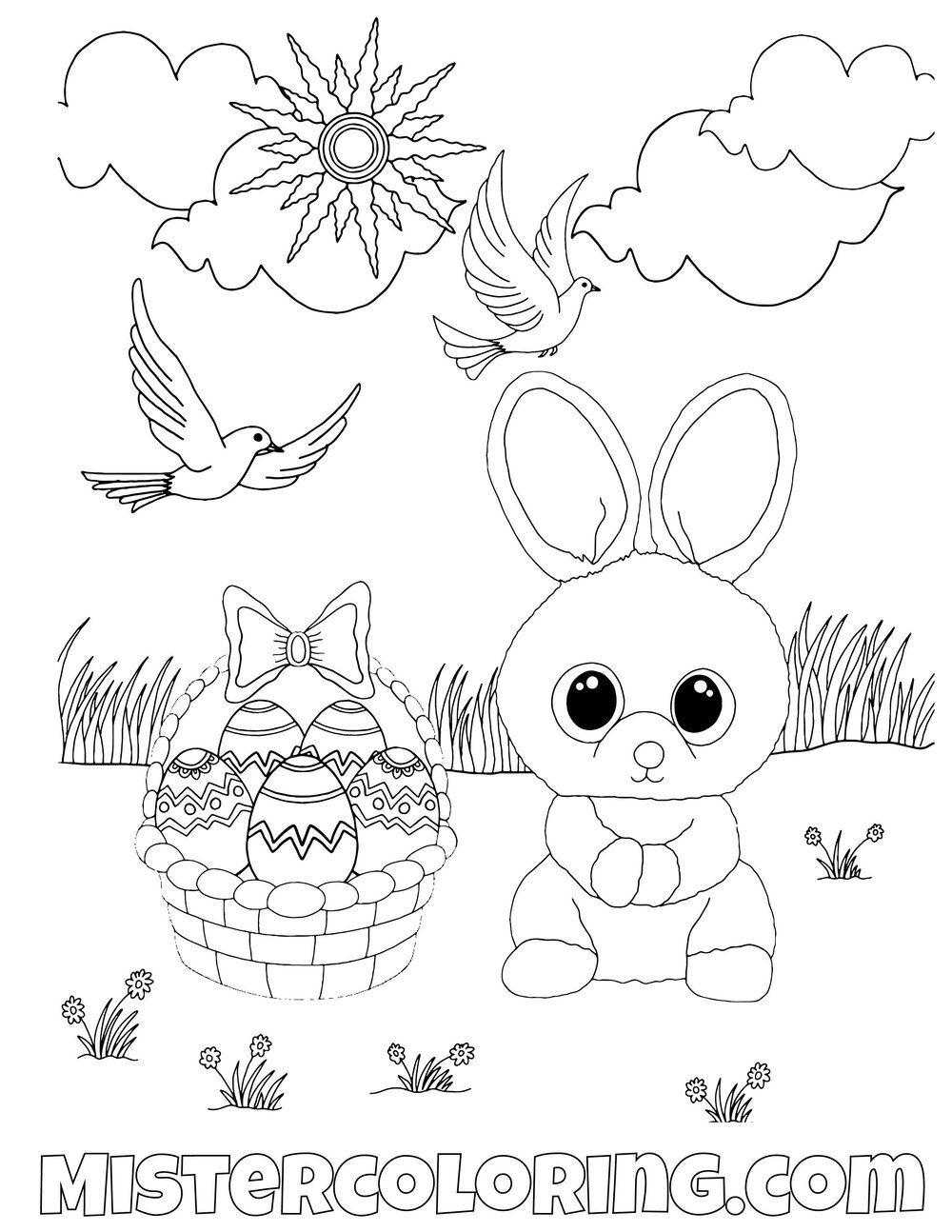Easter Bunny Beanie Boo Coloring Pages For Kids Malvorlagen Ausmalbilder Boo Hund