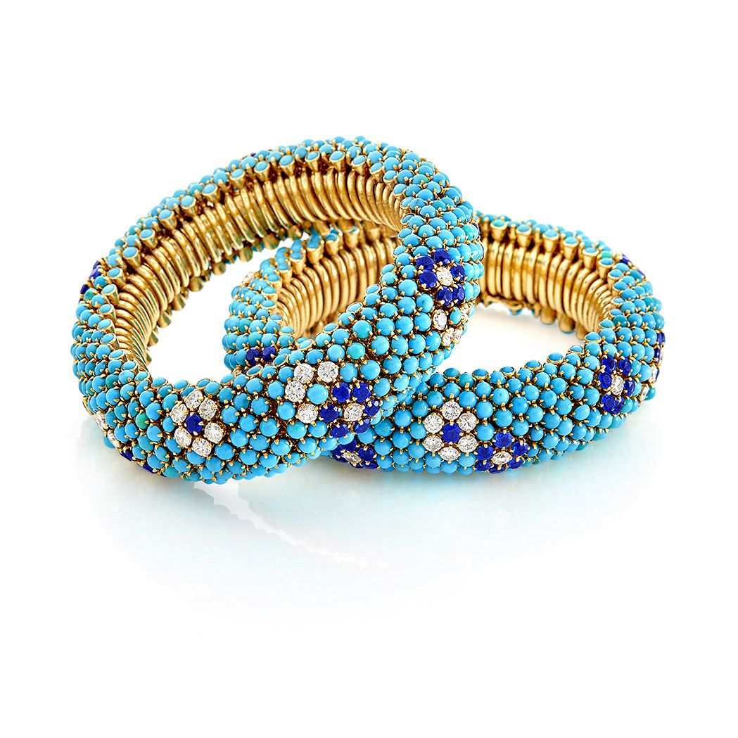 pair of gold turquoise diamond and sapphire