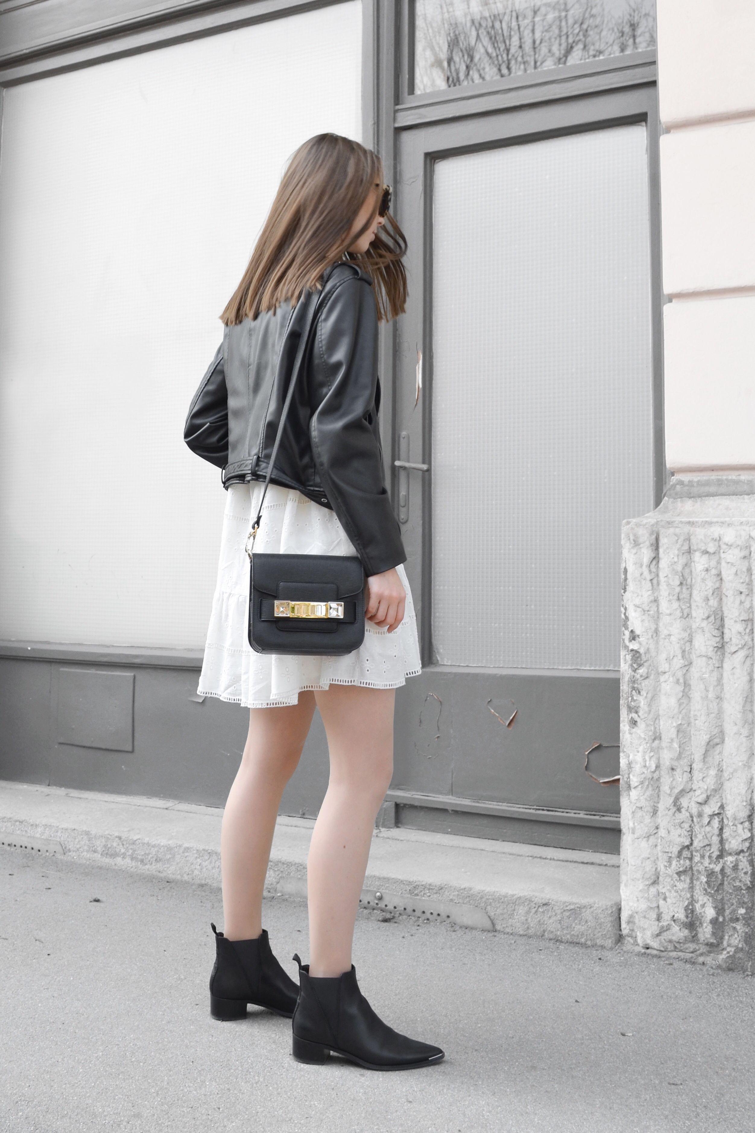 White lace dress zara  Black Leather u White Lace wearing Zara Dress  Zara Leather Jacket
