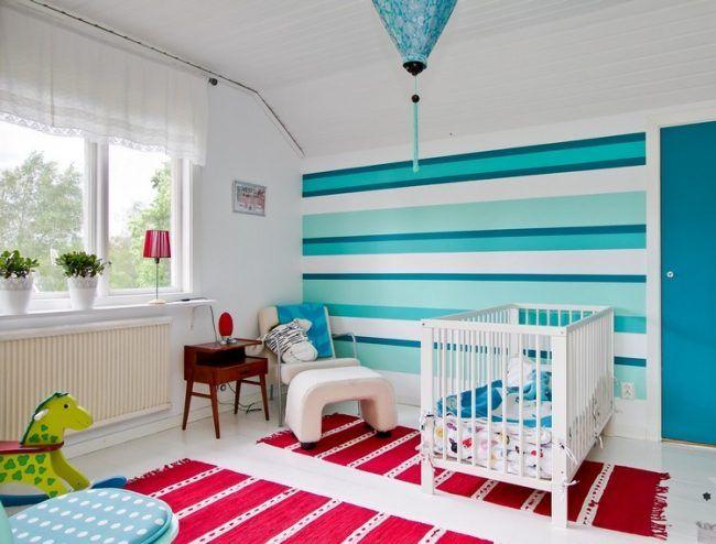 wand-streichen-muster-ideen-babyzimmer-streifen-blautoene - wandgestaltung streifen ideen