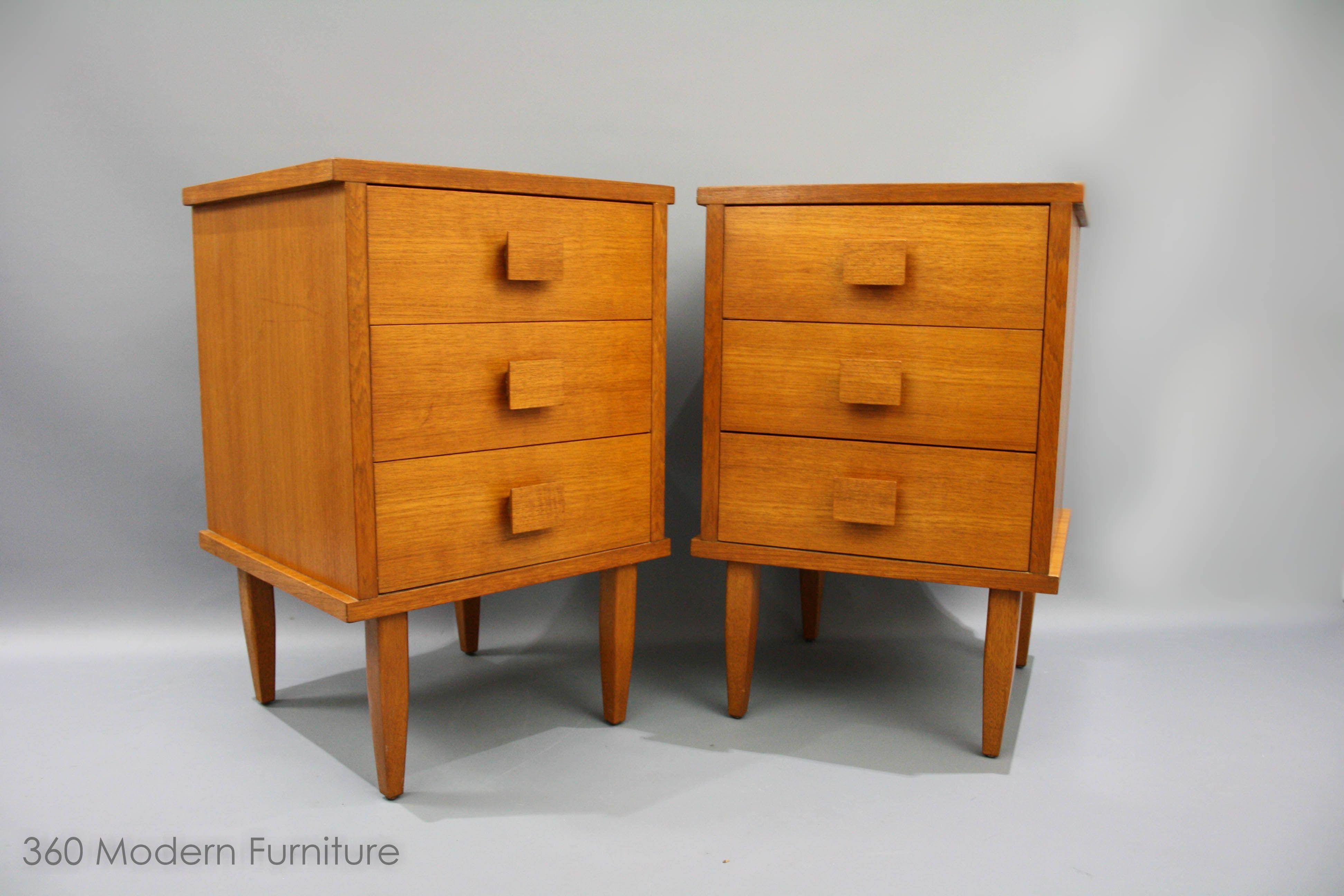 Mid Century Teak Square Handle Bedside Drawers Tables Vintage