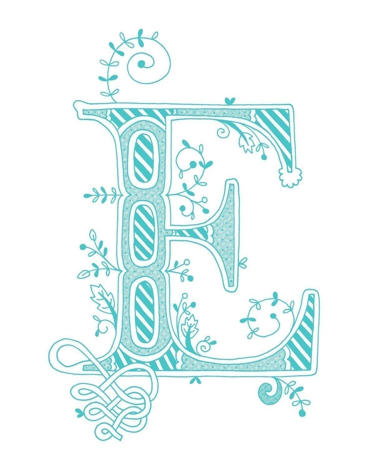 Hand Drawn Monogrammed Print 8x10 The Letter E In Color Blue 1500 Via Etsy