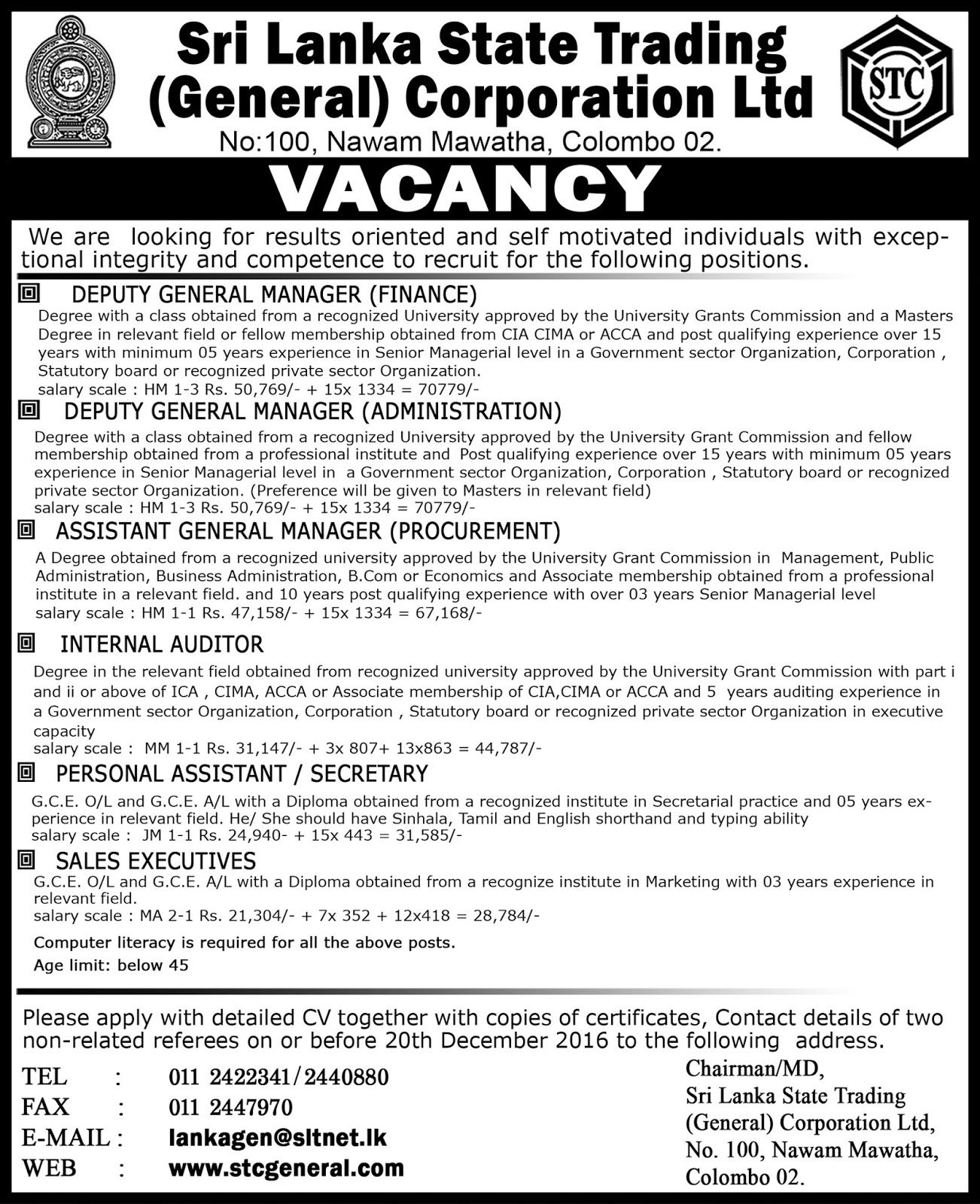 Deputy General Managers, Internal Auditor, Personal