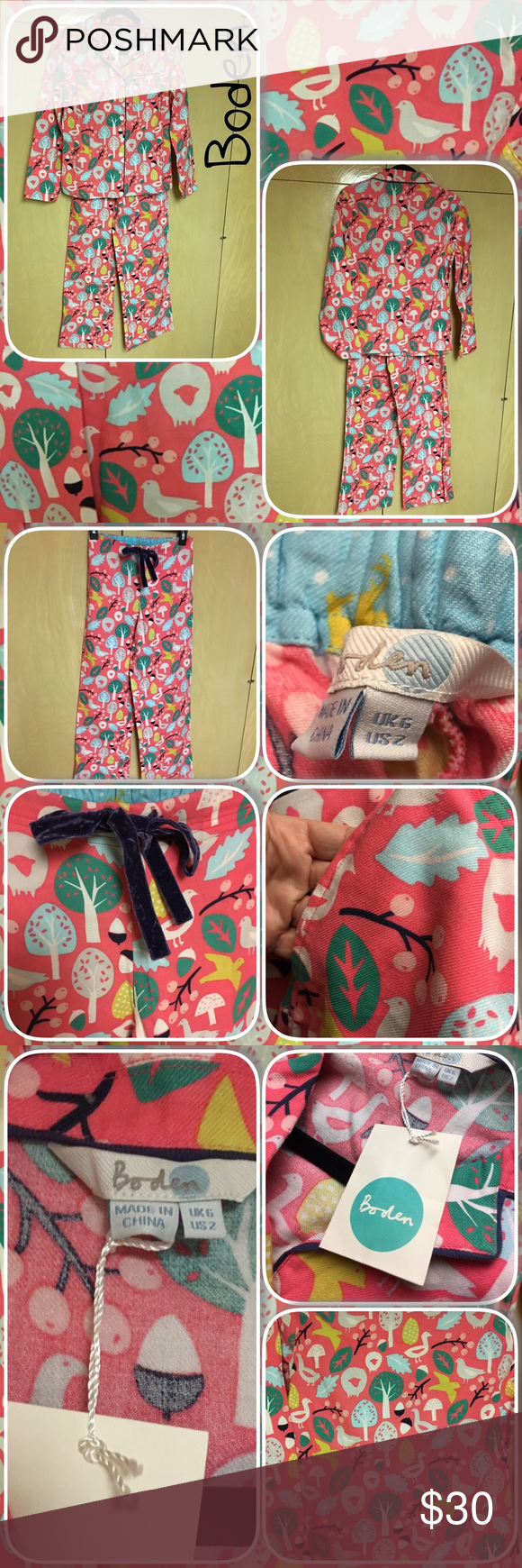 """NWT Boden Pink Cosy Print Pajamas Set US Sz 2 Details: Size 2 US / Size 6 UK This matching set isn't just for bedtime – tuck a tee into the elasticated waist of the trousers for the perfect daytime lounging outfit. 100% cotton Top length finishes at low hip Machine washable Full length sleeves Button fastening at front Pocket at left chest on top Side pockets on bottoms Inside leg length 30 1/2""""  Brand new with original hang tags! Boden Intimates & Sleepwear Pajamas"""