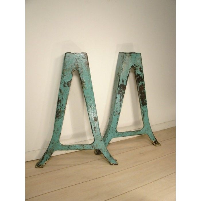 Vintage Industrial Table Legs Cast Iron Metal Leg Pair