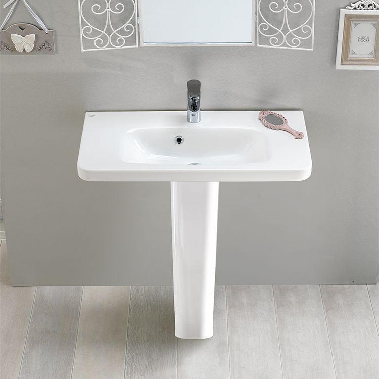 Rectangular White Ceramic Pedestal Sink Bathroom Sink Sink