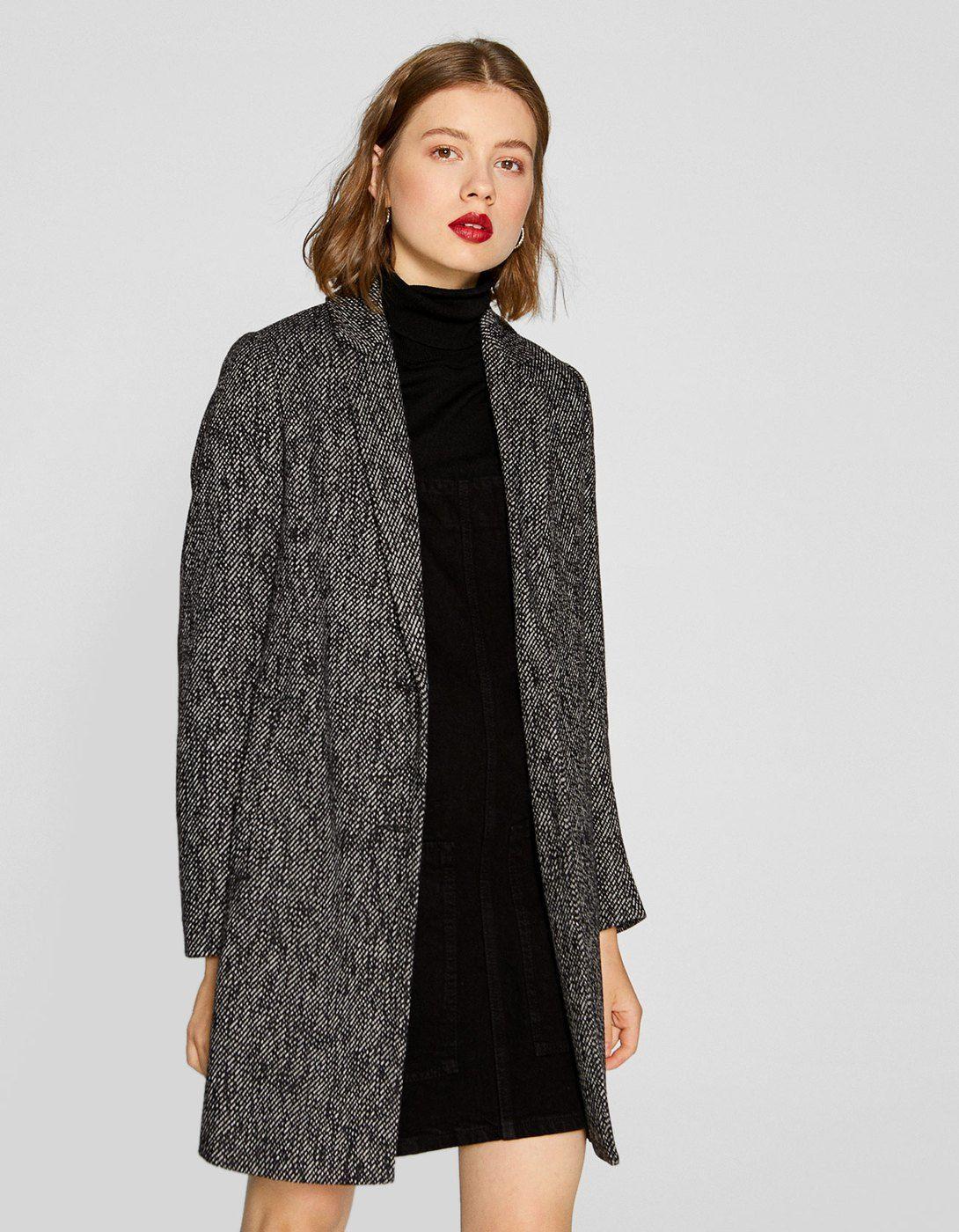 283fb11469 Płaszcz w jodełkę - Płaszcze i kurtki