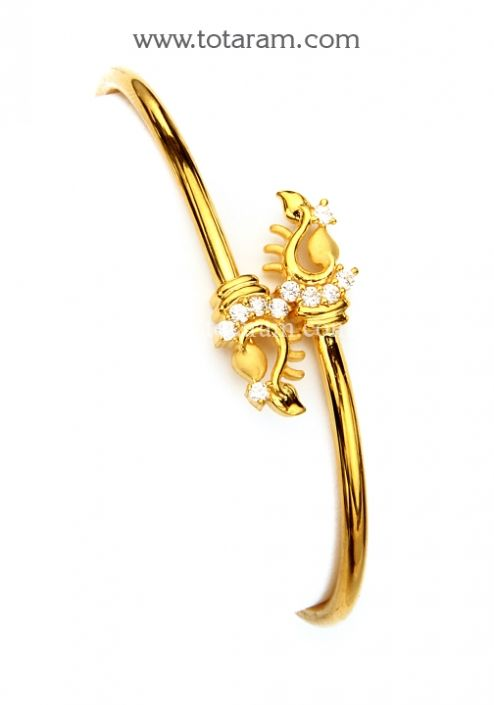 22K Gold Bangle Bracelet with Cz GBR1422 Buy this Indian Jewelry