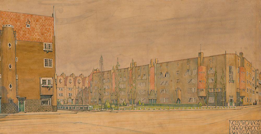 Michel de Klerk Spaarndammerplantsoen II Amsterdam, 1914 L'une des contributions les plus notables en matières de logements sociaux. Ensemble entouré de jardins rappelant les cités jardins d'Howard.