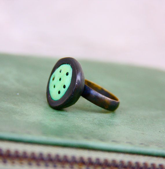 Black Brass Ring  Moonbeam Green  Glow in the by LemantulaDesigns, $45.00