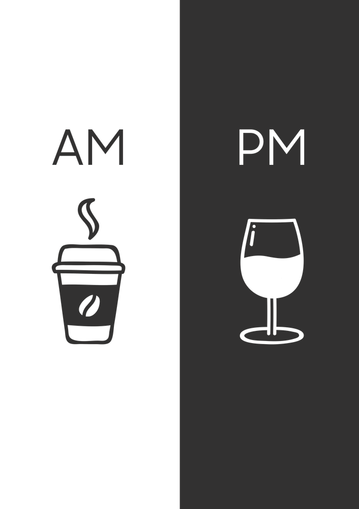 Am Pm - Kitchen poster - Coffee & Wine Decor - Home decor - Wall art - Am Pm sign - Wine sign Sticker by fingerartprints