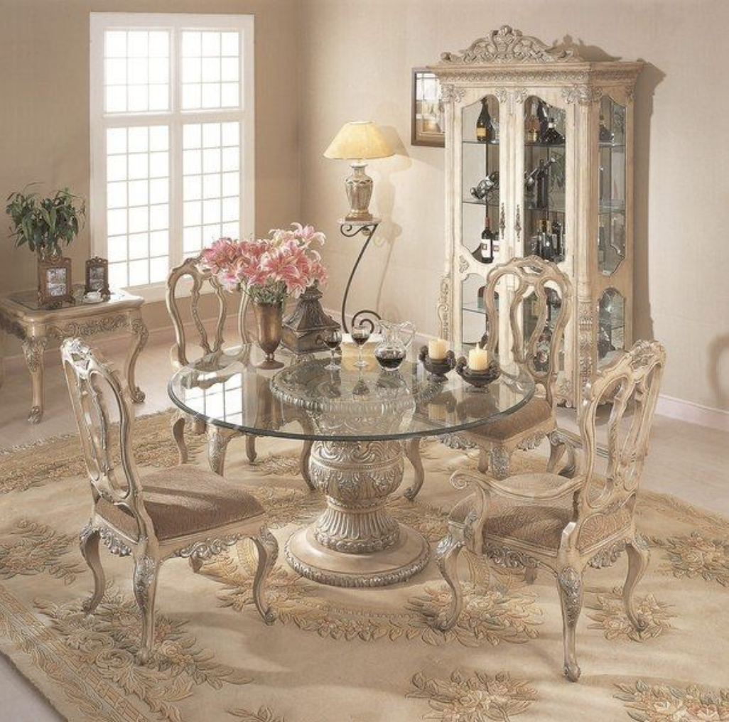 The Florence Dinette Set Collection In Antique White Is Such A Chic Classy Set If You Round Dinning Table Round Pedestal Dining Table Glass Dining Room Table