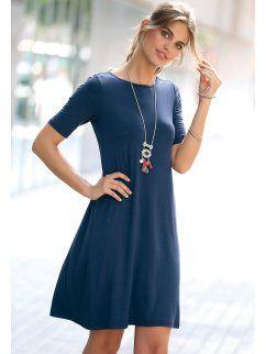 4a5732ff3 Vestido modelo evasê com manga curta em malha lisa extensível | moda ...