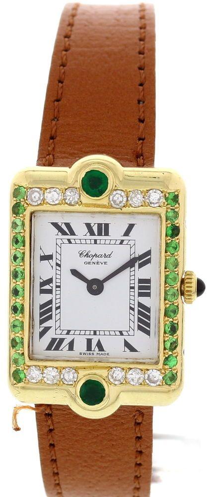 39c948aaeb6c7 Ladies Chopard Tank 18K Yellow Gold Diamond Emerald Watch | no Timex ...